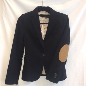 Zara basic navy blazer with patch elbows